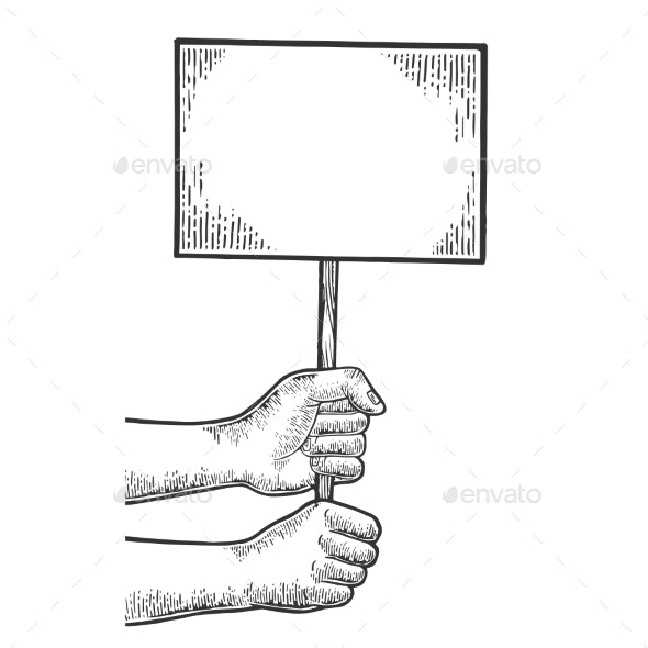 Blank Poster in Hands Engraving Vector - Miscellaneous Vectors