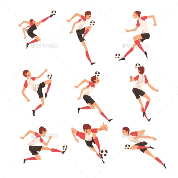 Soccer Player in Different Poses Set - Sports/Activity Conceptual