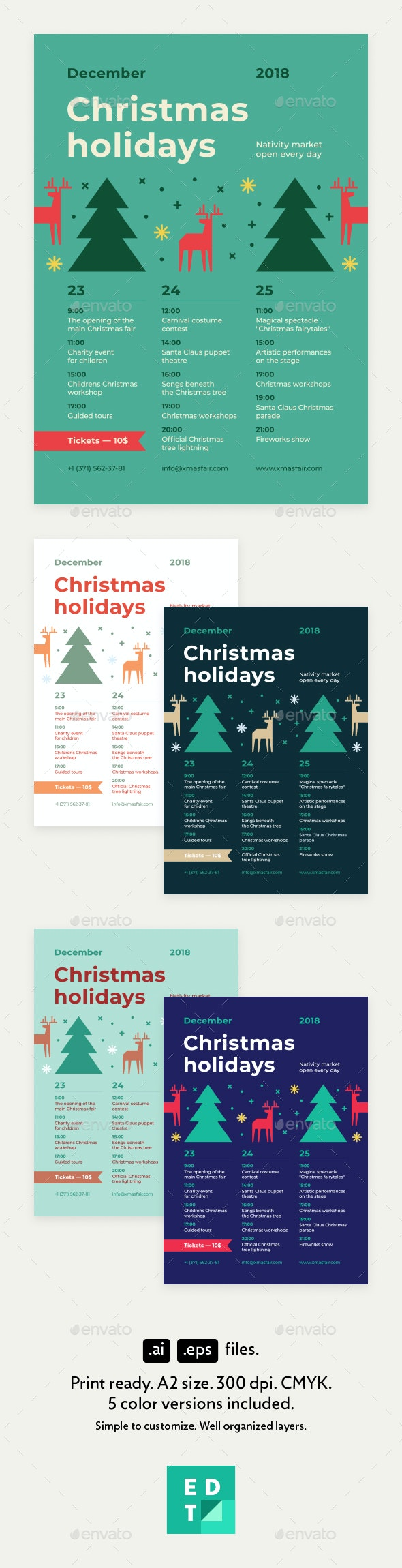 Christmas Schedule Poster Template - Holidays Events