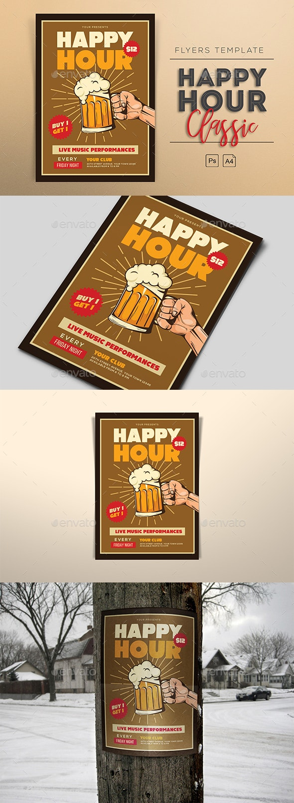 Classic Happy Hour Flyers - Clubs & Parties Events