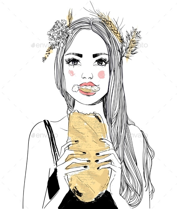 Girl's Portrait with Bread - People Characters