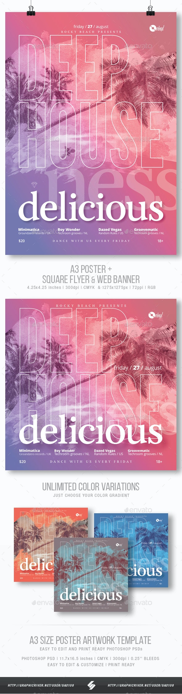 Deep House Delicious - Summer Party Flyer / Poster Template A3 - Clubs & Parties Events