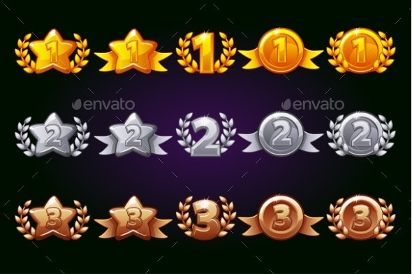 Golden, Silver and Bronze Rewards Icons Set - Miscellaneous Game Assets