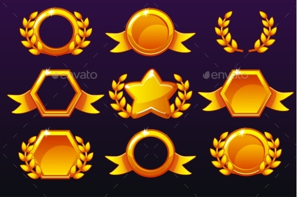 Gold Templates for Awards Creating Icons - Miscellaneous Game Assets