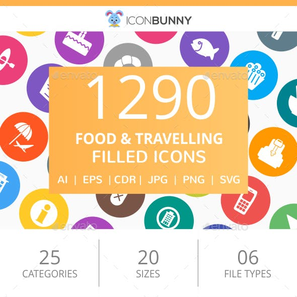 1290 Food & Travelling Filled Round Icons