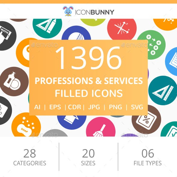1396 Professions & Services Filled Round Icons