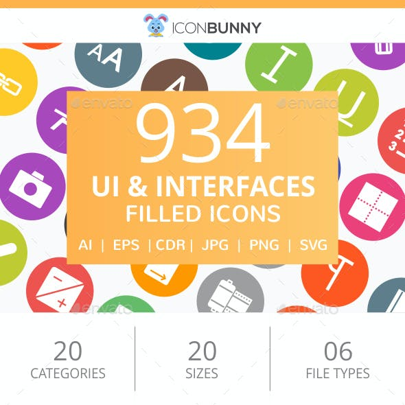 934 UI & Interfaces Filled Round Icons