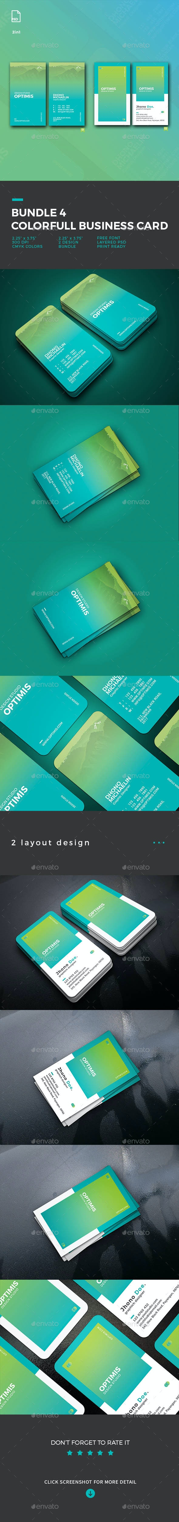 Bundle 5 Gradient Business Card - Business Cards Print Templates