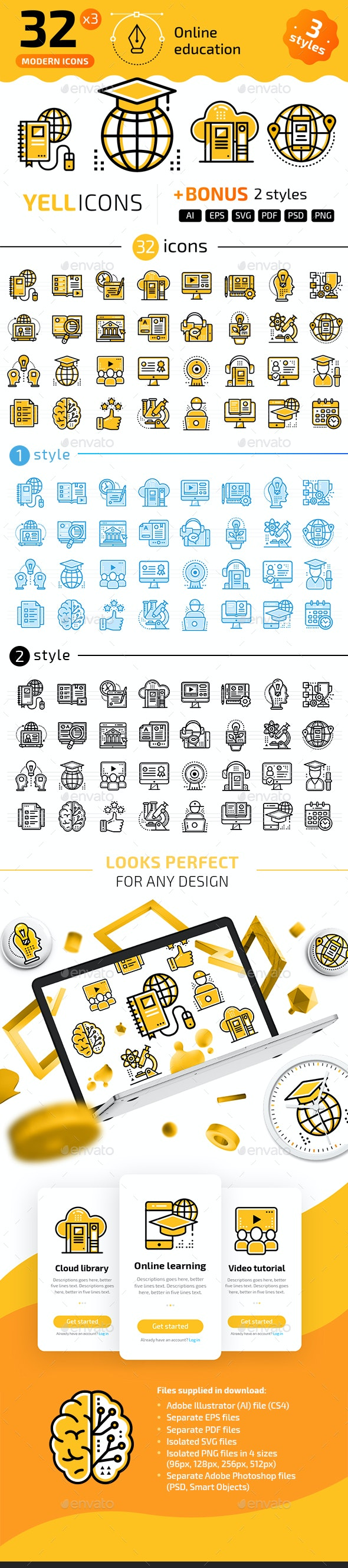 32+ Online Education Line Icons - Icons