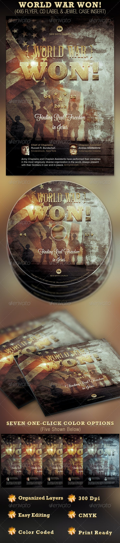World War Won! Flyer and CD Template - Church Flyers