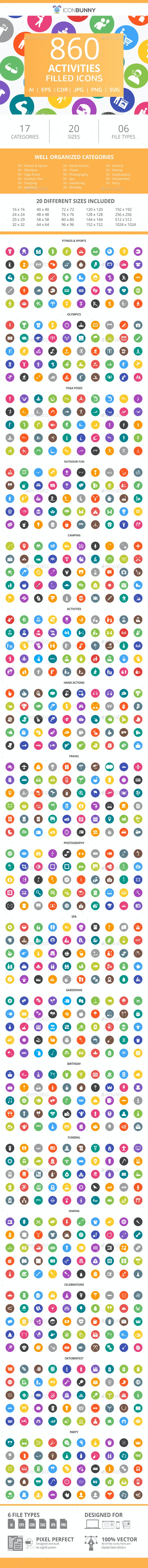 860 Activities Filled Round  Icons - Icons