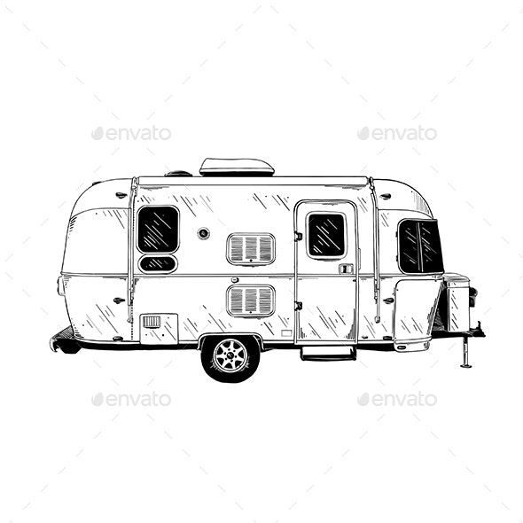 Trailer in Black Isolated on White Background - Miscellaneous Vectors