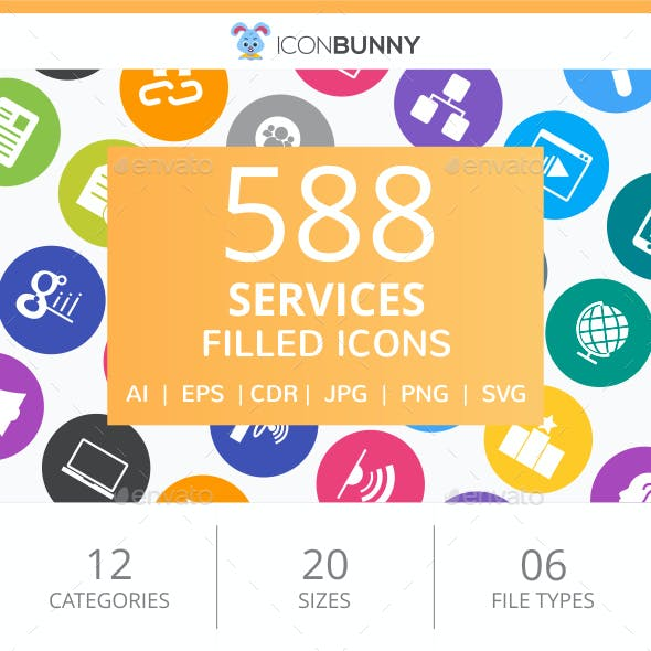 588 Services Filled Round Icons