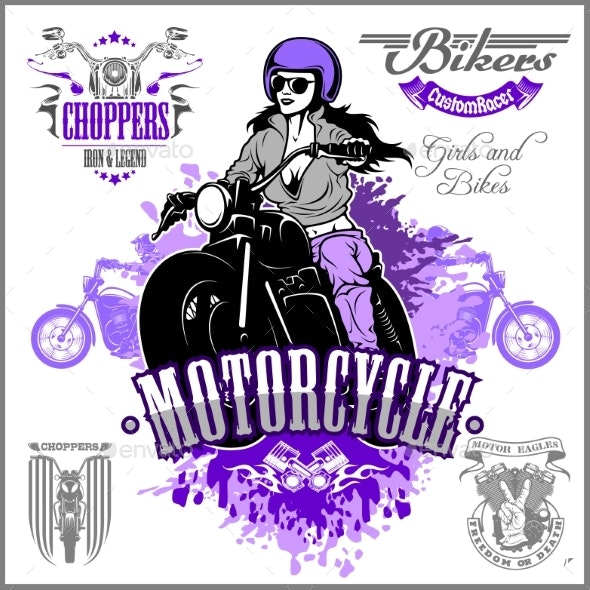 Girl on a Motorcycle in Retro Style - Miscellaneous Vectors