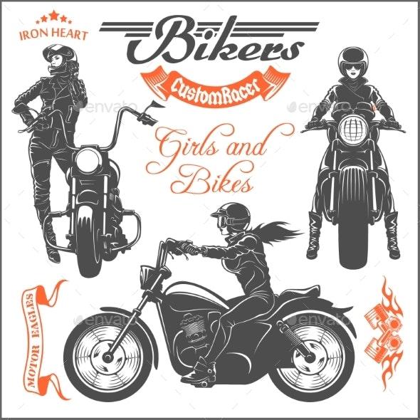 Girls Ride a Motorbike - Miscellaneous Vectors