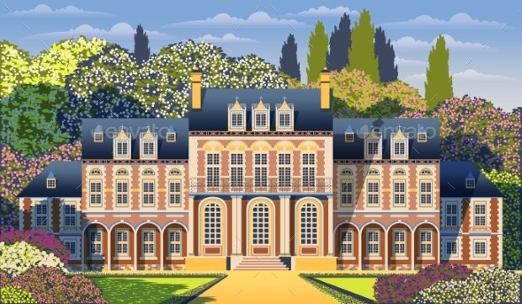 Medieval Old Mansion with Garden, Flowering Shrubs - Buildings Objects