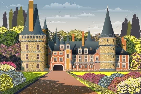 Medieval Old Gothic Castle with a Bridge, Park - Buildings Objects