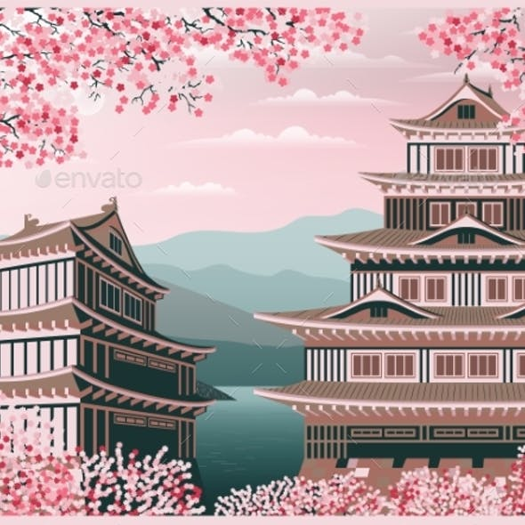 Japanese Old Castle and Blooming Cherry Blossoms