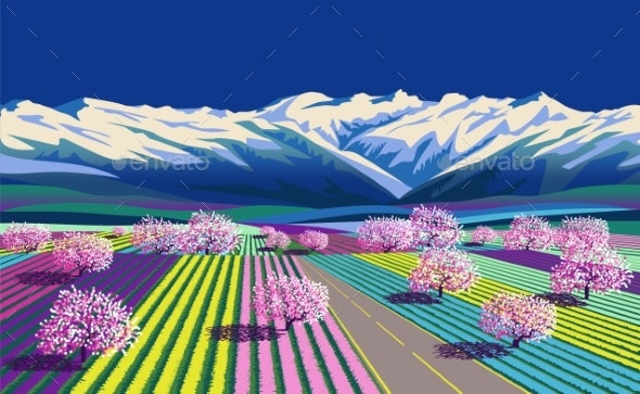 Spring Rural Landscape with Road, Flowers, Meadows - Nature Conceptual