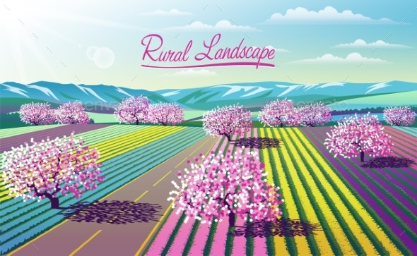 Spring Rural Landscape with Road, Flowers, Meadows - Flowers & Plants Nature