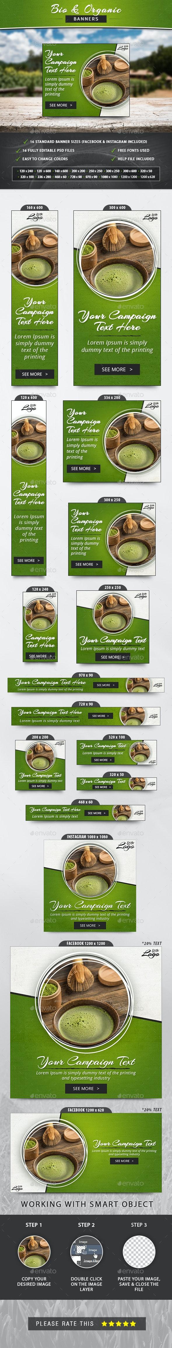 Bio & Organic Banners - Banners & Ads Web Elements