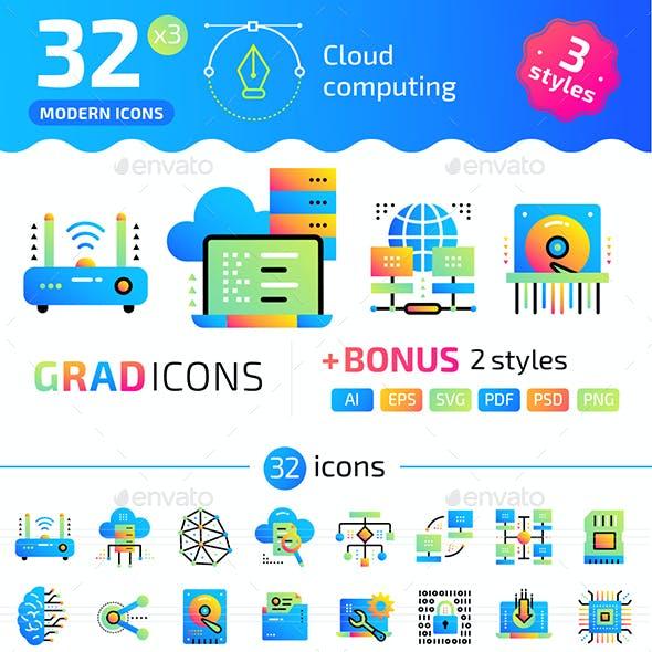 32+ Cloud Computing Flat Icons