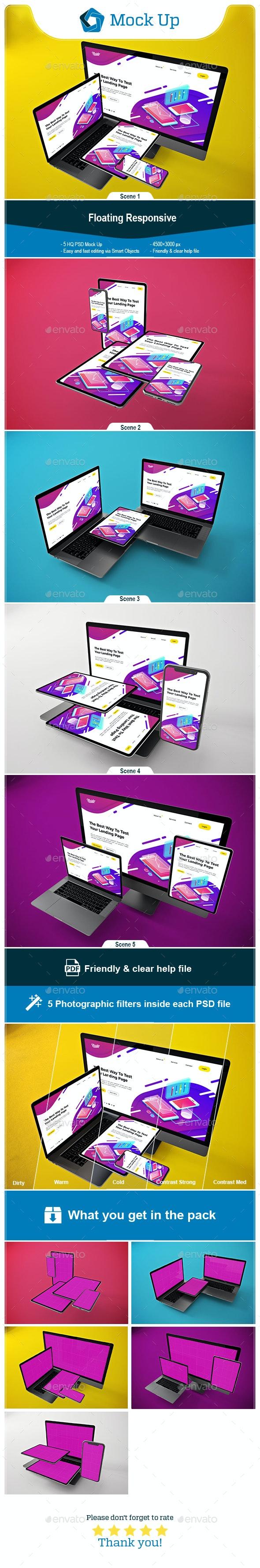 Floating Responsive Mockup - Website Displays