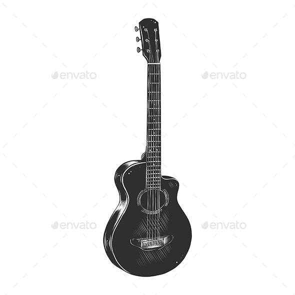 Hand Drawn Sketch of Acoustic Guitar in Monochrome - Man-made Objects Objects