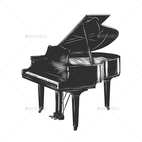 Hand Drawn Sketch of Piano in Monochrome - Man-made Objects Objects