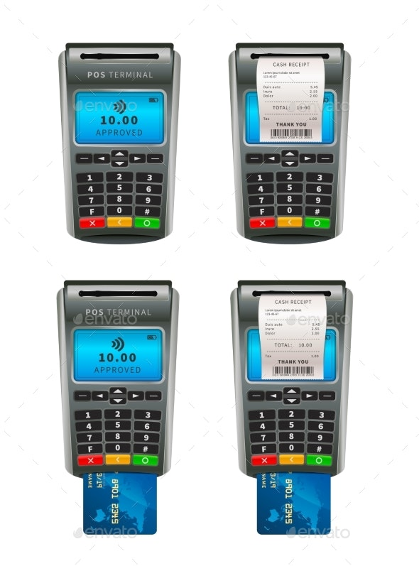 Set of Realistic NFC POS Terminals for Payment - Technology Conceptual