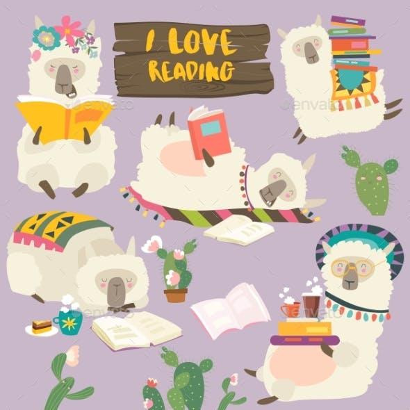 Cartoon Llamas Alpaca Reading Books