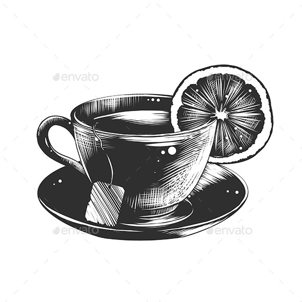 Hand Drawn Sketch of Tea With Lemon - Food Objects