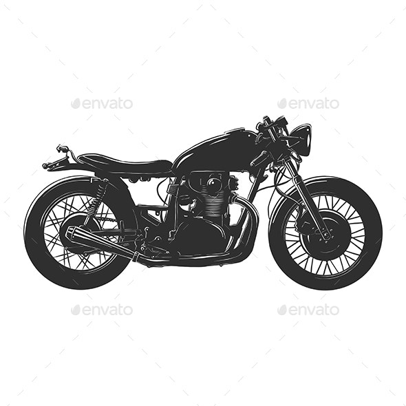 Motorcycle in Monochrome Isolated - Miscellaneous Vectors