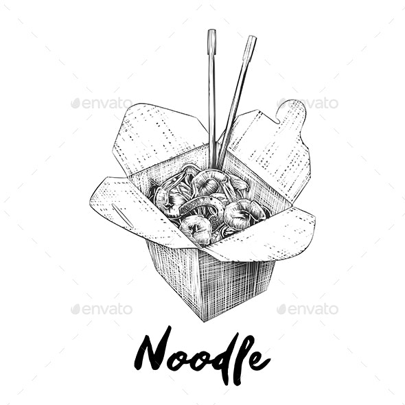 Noodles Box in Monochrome - Food Objects