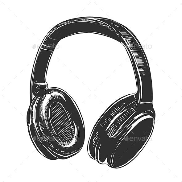 Hand Drawn Sketch of Headphones in Monochrome - Media Technology