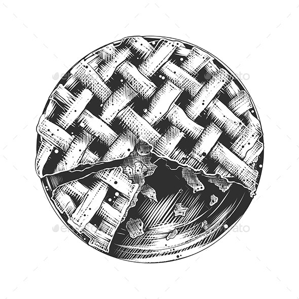 Hand Drawn Sketch of American Pie in Monochrome - Food Objects