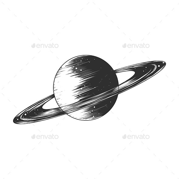 Hand Drawn Sketch of Saturn Planet in Monochrome - Miscellaneous Vectors
