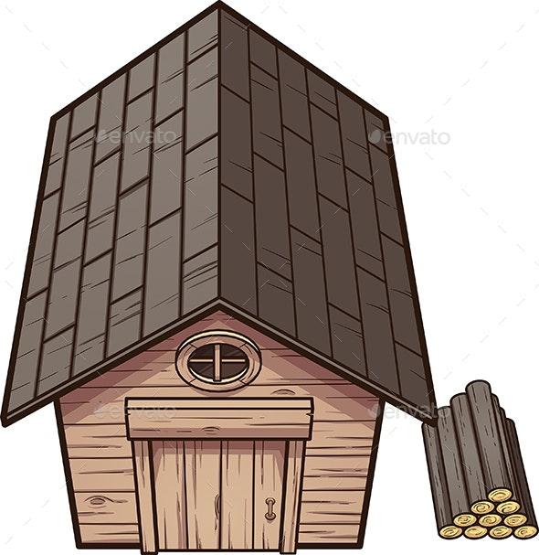 Cartoon Wooden Cabin - Buildings Objects