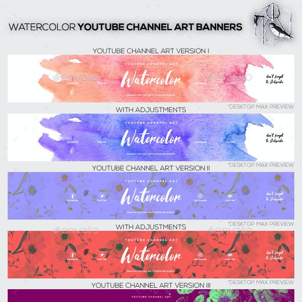 3 Minimal Watercolor Youtube Channel Art Banners