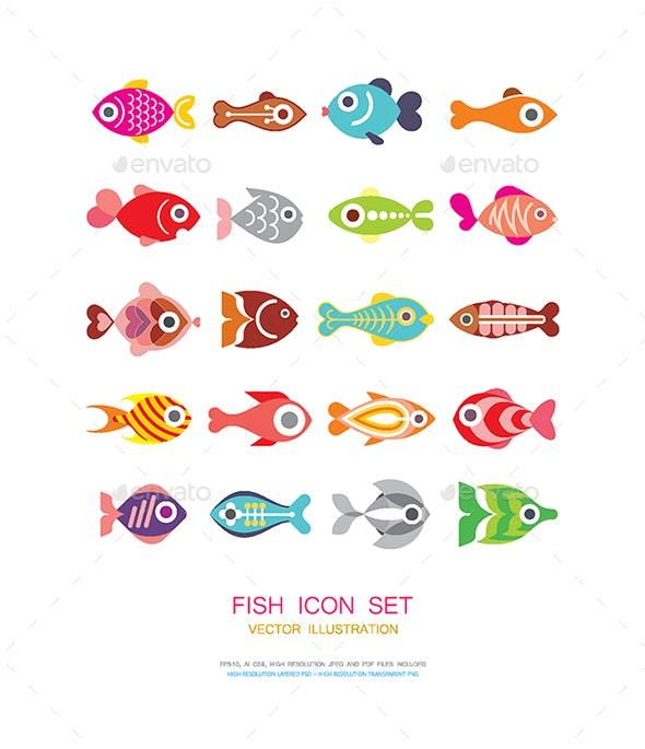 Fish Icon Set - Animals Characters