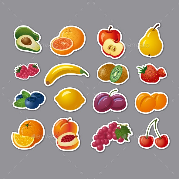 Fruits Stickers - Food Objects