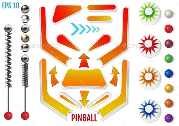 Pinball Elements Realistic Set - Miscellaneous Vectors