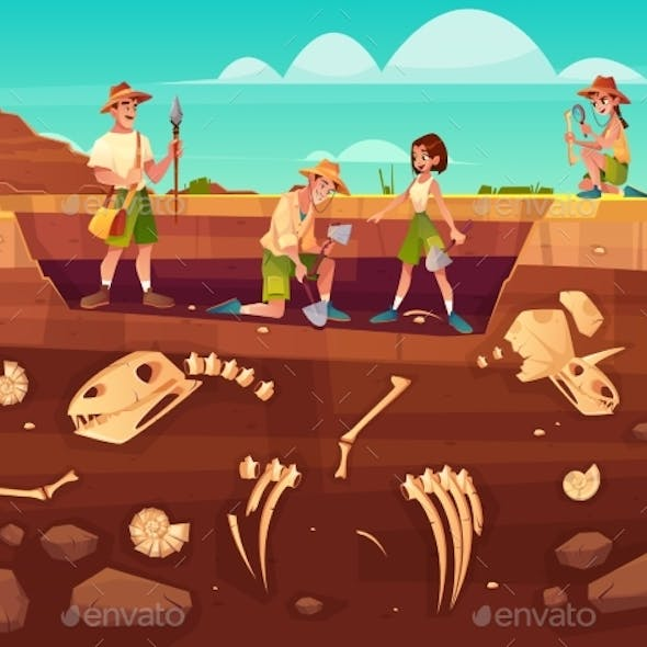 Scientists Exploring Fossils on Excavations Vector