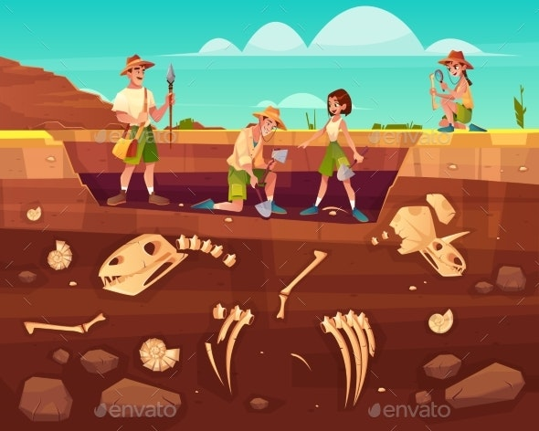 Scientists Exploring Fossils on Excavations Vector - Miscellaneous Conceptual