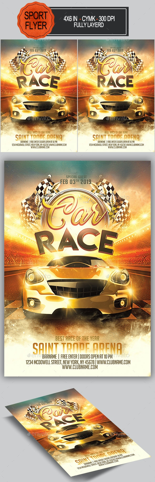 Car Race Flyer - Sports Events