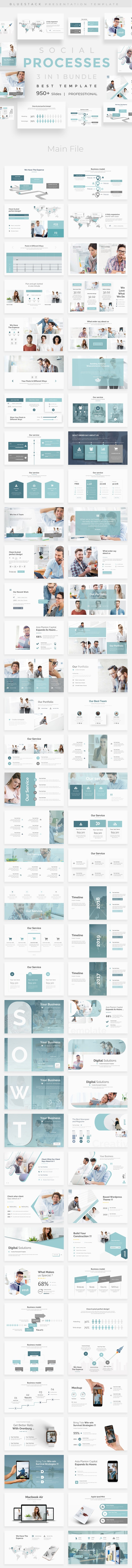 Social Processes 3 in 1 Pitch Deck Bundle Powerpoint Template - Business PowerPoint Templates