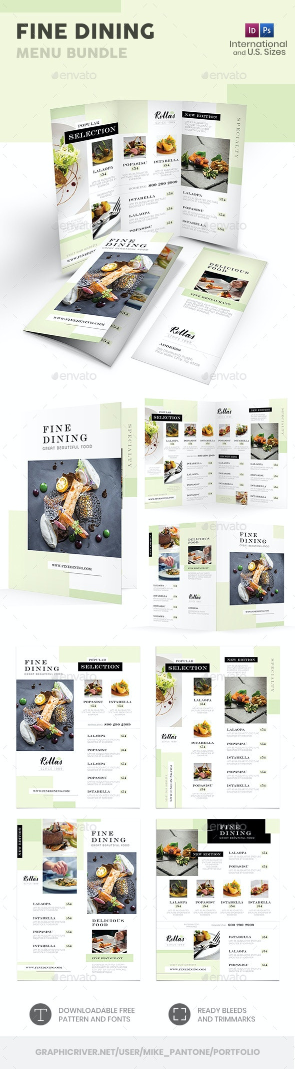 Fine Dining Menu Print Bundle - Food Menus Print Templates