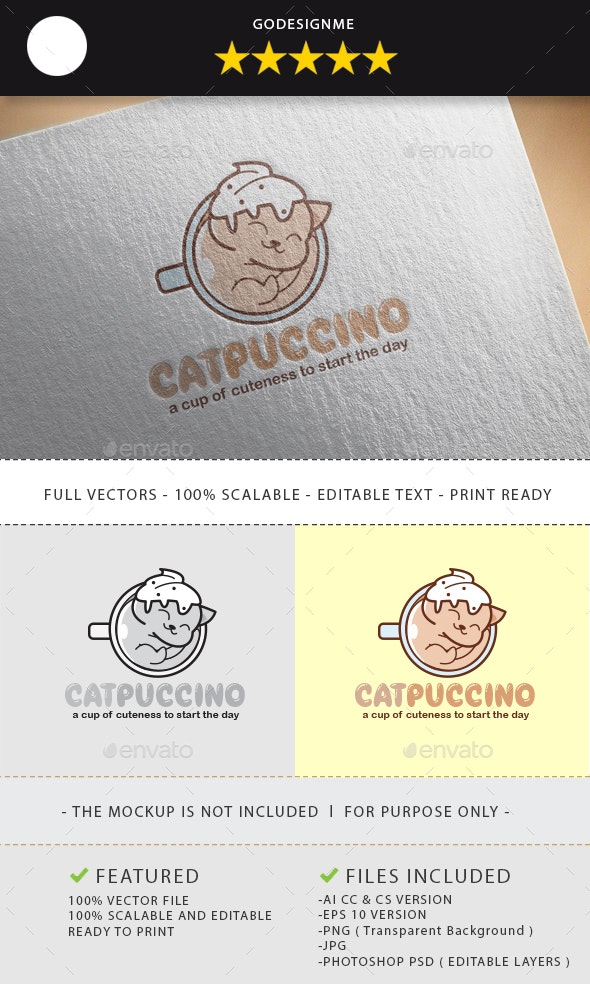 Catpuccino Logo Design - Vector Abstract