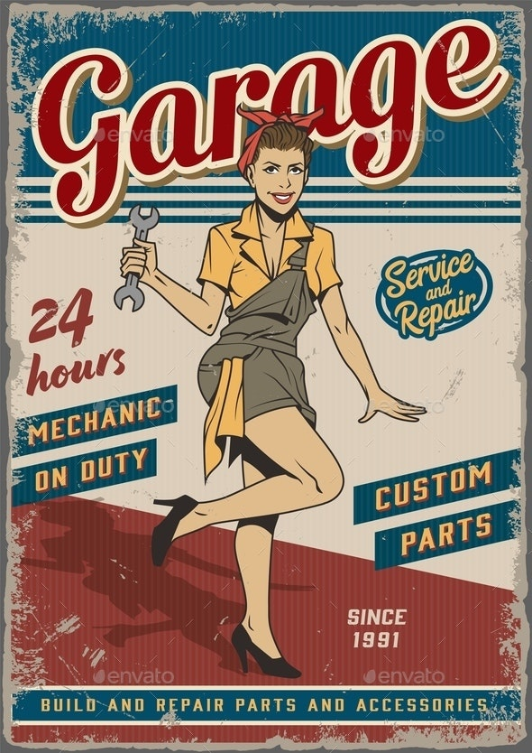 Retro Garage Repair Service Vintage Poster - People Characters