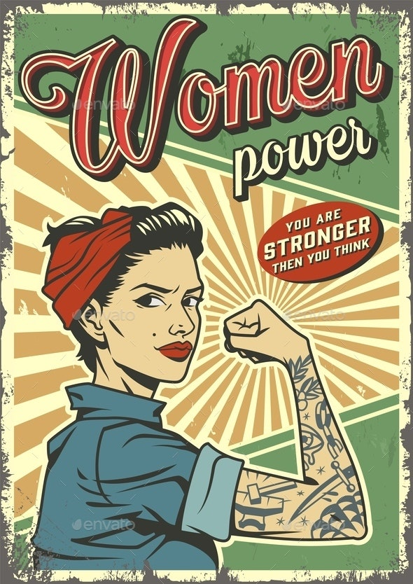 Vintage Woman Power Poster - People Characters